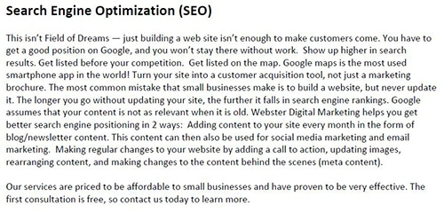 Website content which is not optimized for users.