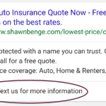 Mobile search example with Message Extensions in AdWords.