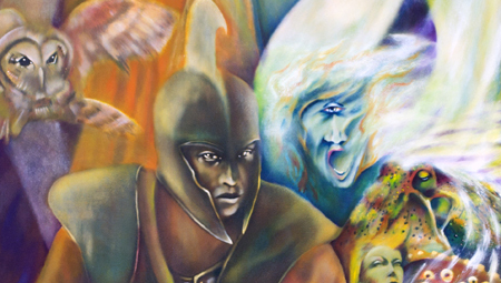 Odyssey Life journey, an original oil on canvas painting by Minneapolis visual artist Roger Williamson