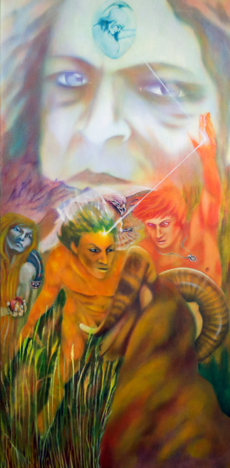 Prometheus and the Wrath of god. Mypainting looks at the mythological dynamic from two perspectives. It is illustrating thephenomena of enlightenment being shared prior to the punishment being executed. From the Greek perspective it is the agent of enlightenment to man, Prometheus,who is the one suffering the wrath of the Gods. In the Jewish/Christian philosophy it is the receiver of enlightenment, Eve, who suffers the wrath of God.