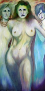 Mythology. Sirens dangerous and beautiful. by Minneapolis artist Roger Williamson. We are drawn like moths to a flame. Oil on canvas, 72 inches by 36 inches, 2008