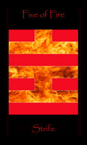 Five of Fire meaning Strife. Tarot of the Morning Star depicts Minor Arcana Tarot cards as binary code.