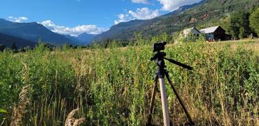 GoPro camera on tripod in field