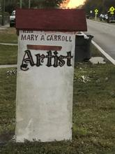 Mary Ann Carroll's Monument; her hand-painted red & white mailbox