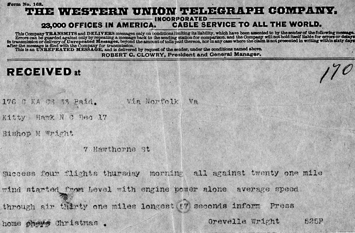 Wright Brothers Telegraph