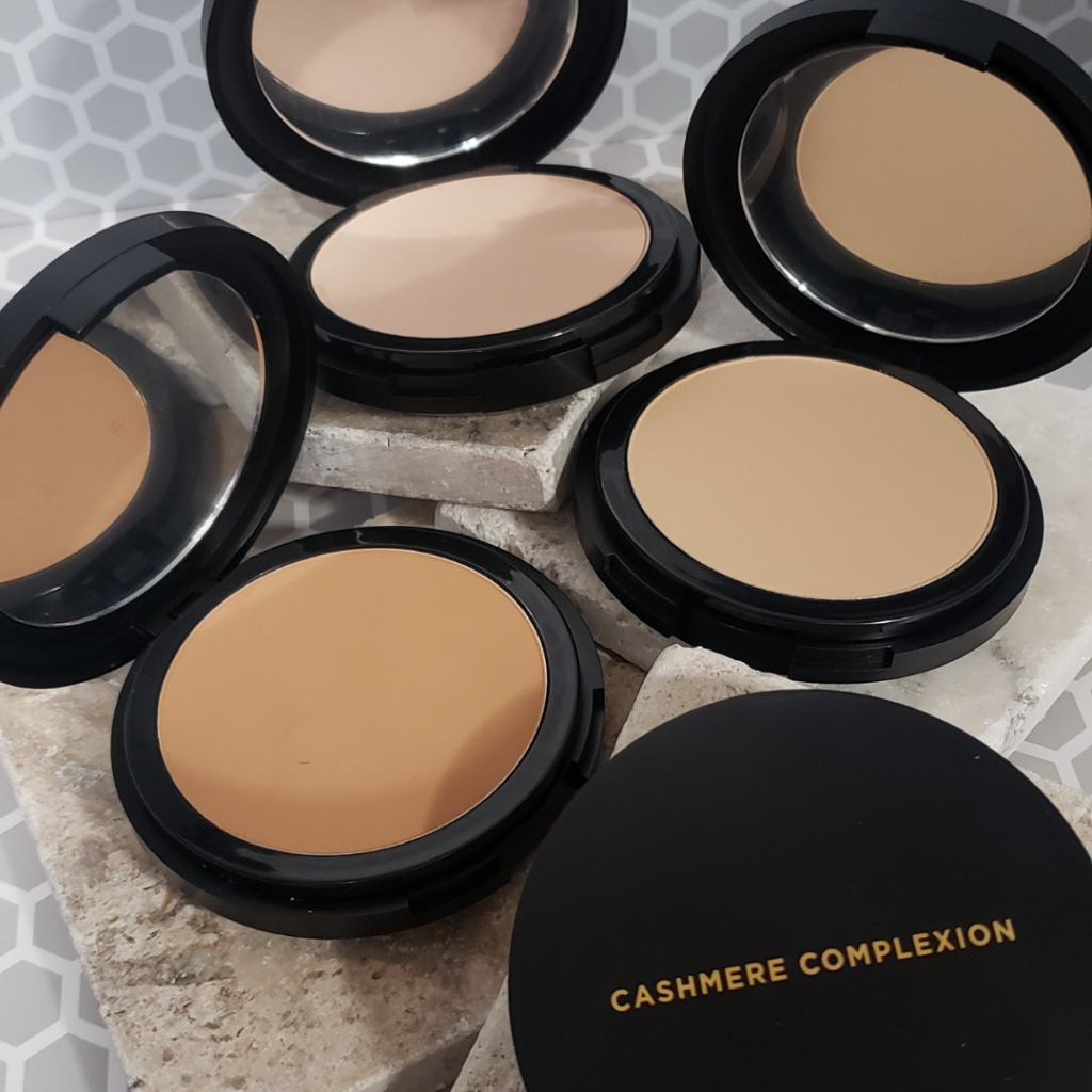 Cashmere Complexion Compact Powder Foundation - 3 open compacts and one closed