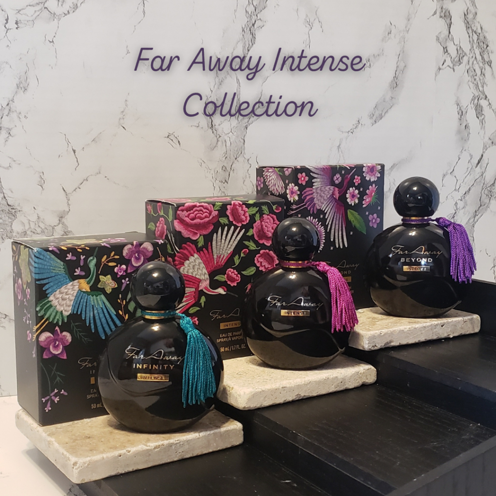 3 different bottles of Far Away perfumes on stone steps