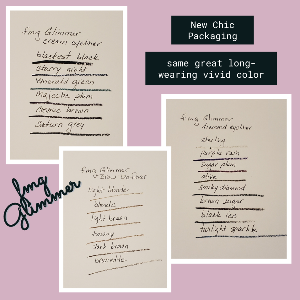 Lists of fmg Glimmer eyeliner and brow definers with swatches of the different shades