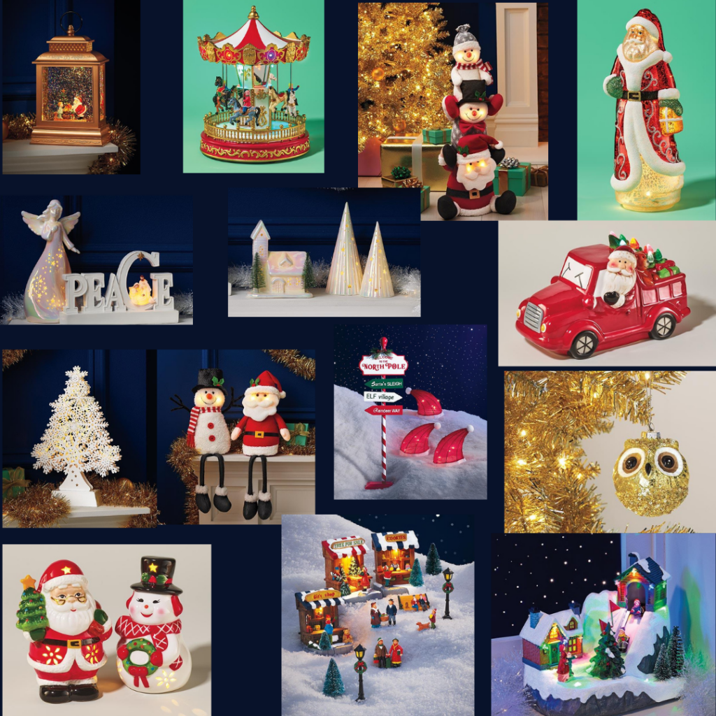 collage with many holiday decor pieces