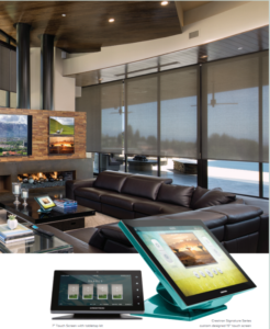 Crestron home with automated shades and multiscreen displays