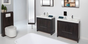 Wood Cabinet with drawer. Take note of the wall-hung toilet carrier in matching wood