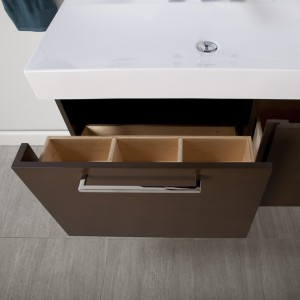 This shows the handy storage on the inside of the drawer for bottles and such.