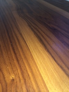 Look at the incredible grain of the hand-hewn living room counter.