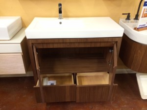 The cabinet when open with plenty of storage