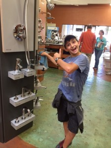 Our goofy son keeping Hansgrohe shiny