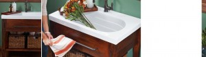 This is a great view of how deep this sink really is. Could be great in a laundry bath