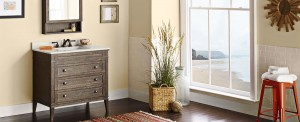 This rustic vanity is available in a couple of finishes