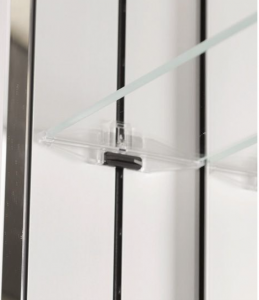 """This patented shelf adjustment system uses a rider on the rails which allows shelf adjustment at 1"""" intervals without any tools required"""