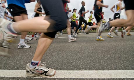 Marathon runners with motion blur
