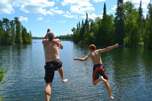Brad and Rowan Leaping
