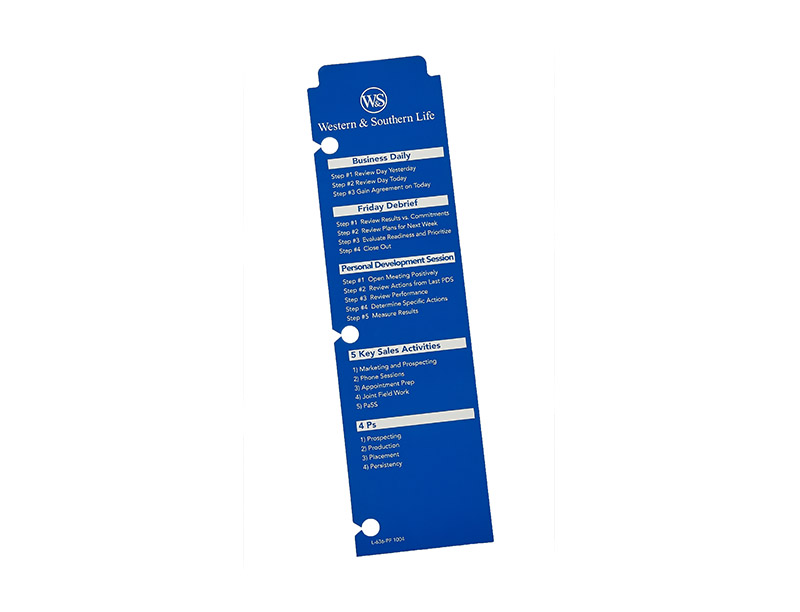 Binder book mark-.010 whitepvc-offset printed