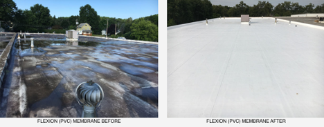 before and after of cool membrane commercial roofing