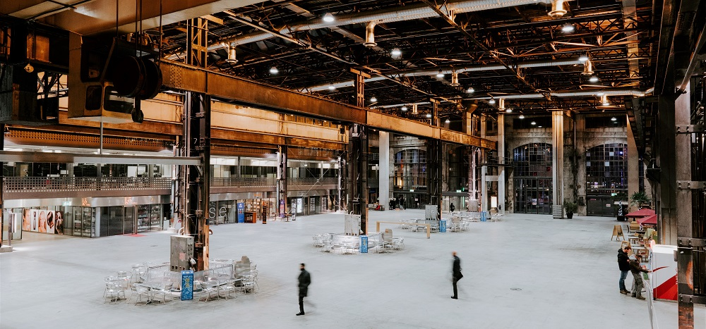 inside of a warehouse building
