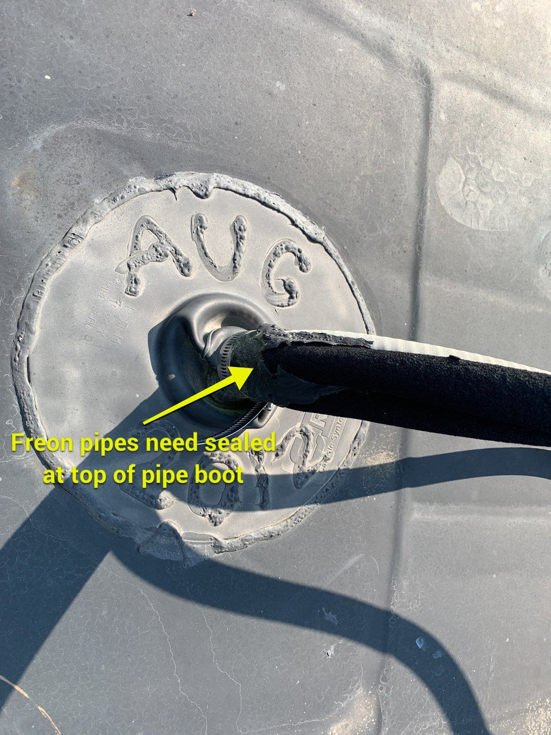 freon pipes need sealed at top of pipe boot