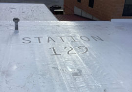recently installed commercial roof at station 129