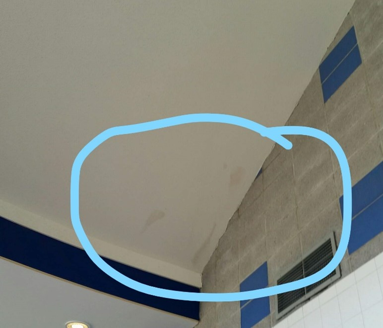 leak produces interior dirt stains