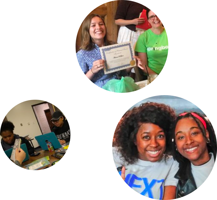 A photo of two young women who are volunteering. A person holding up a diploma. Two students working on laptops.