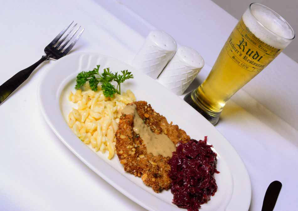 Beer Schnitzel with Mustard Beer sauce, Spaetzle and Red Cabbage