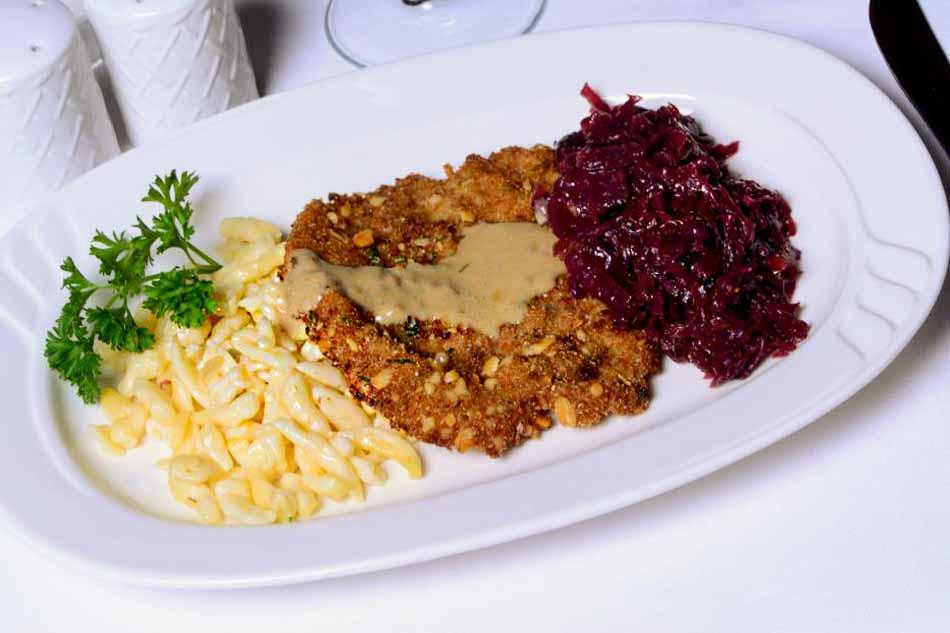 Beer-Schnitzel-with-Mustard-Beer-Sauce-Spaetzle-Red-Cabbage