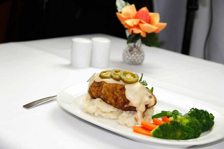 Chicken Fried Steak - Beef Cutlet Stuffed with Swiss Cheese, Mashed Potatoes