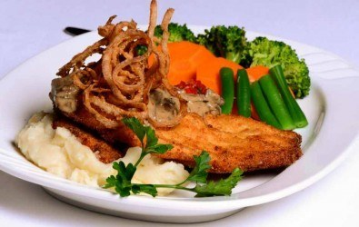 Fried Chicken Schnitzel with Hunter Sauce and Mashed Potatoes and Vegetables