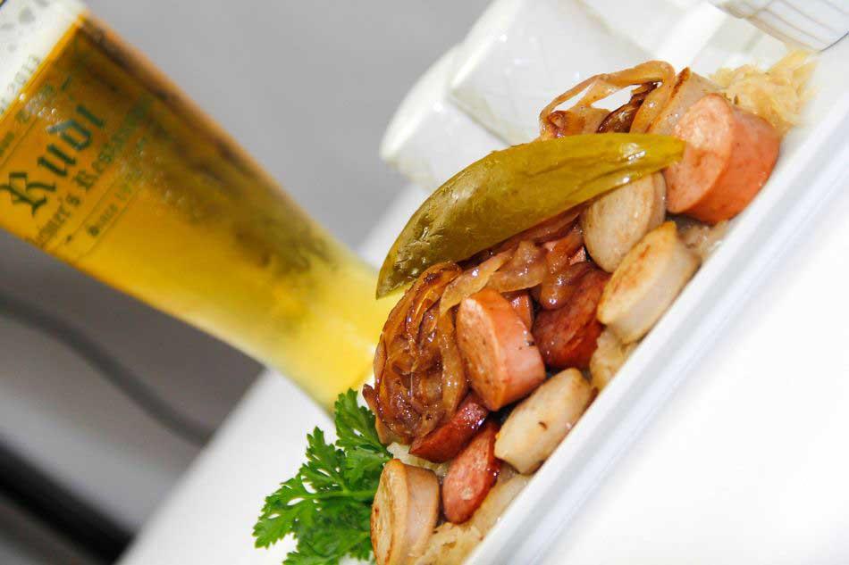 German Sausage Sampler over Sauerkraut