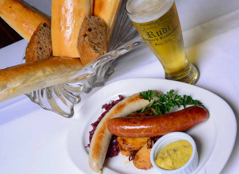 Grilled Sausage Plate - Bratwurst Polish with Austrian Potatoes with Red Cabbage
