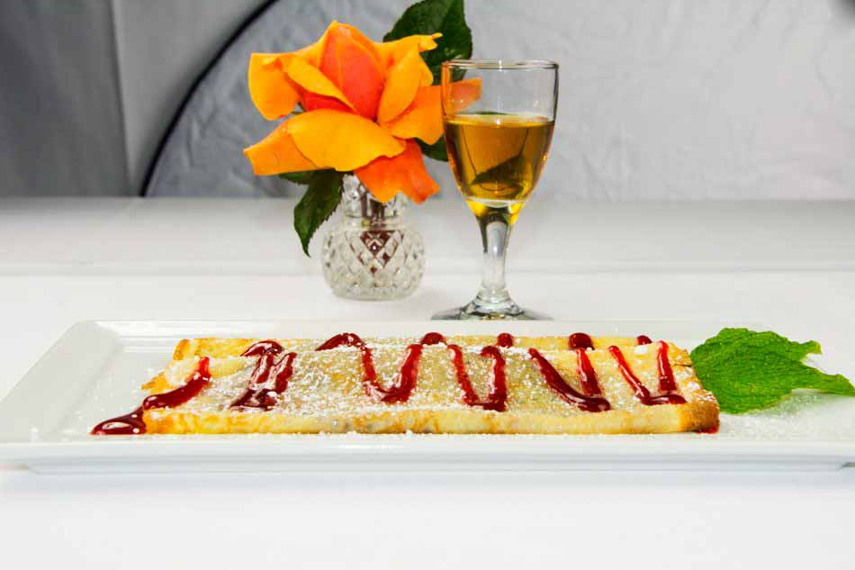 Palatschinken - Two Crepes with Choice of Raspberry or Apricots