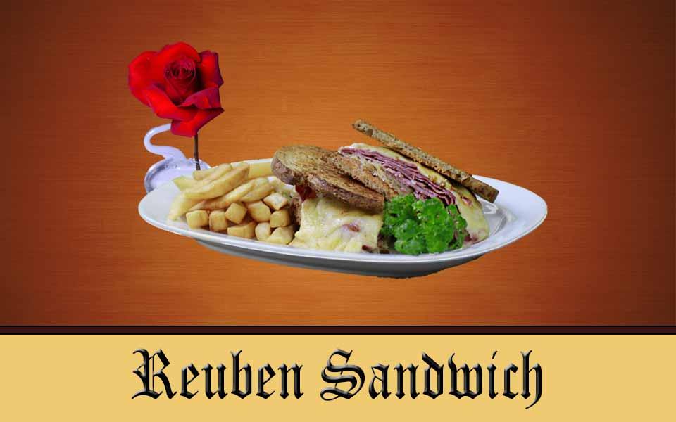 Reuben Sandwich - Corned Beef, Sauerkraut & Melted Swiss on Toasted Rye, served with German Potato Salad
