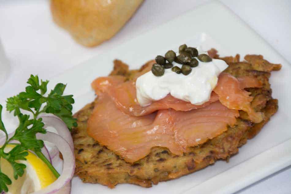 Smoked Salmon on Potato Pancakes - Sour Cream