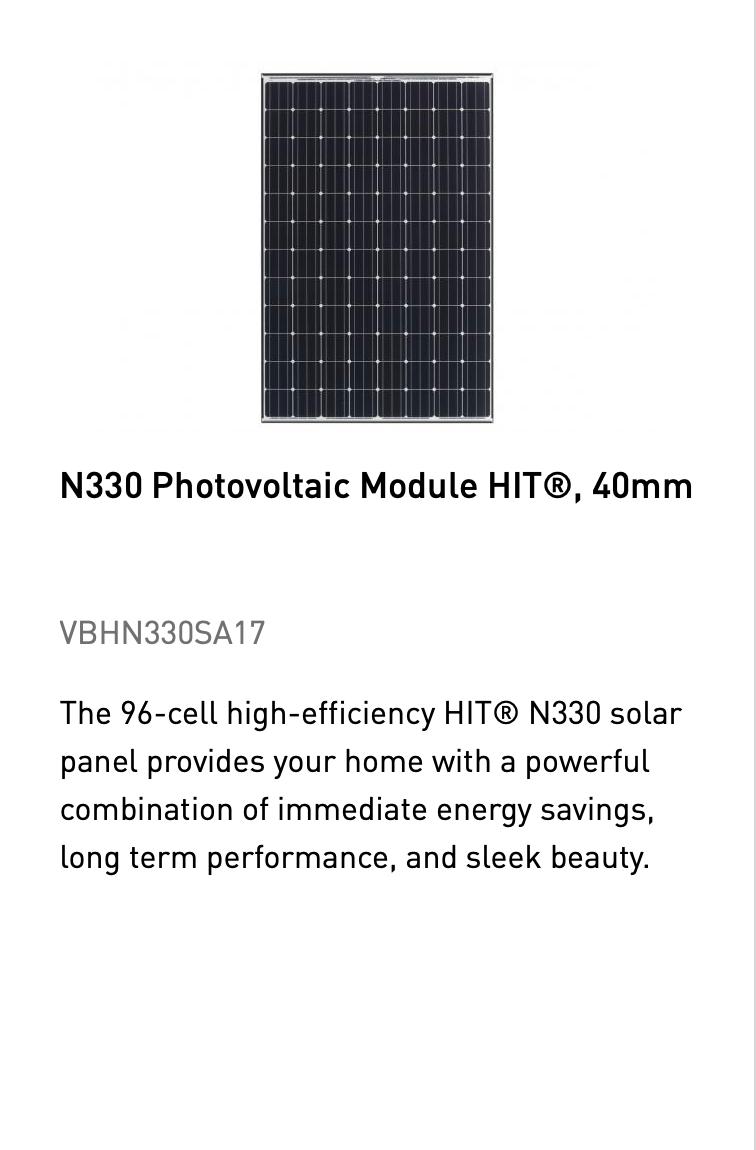 N330 Photovoltaic Module HIT, 40mm