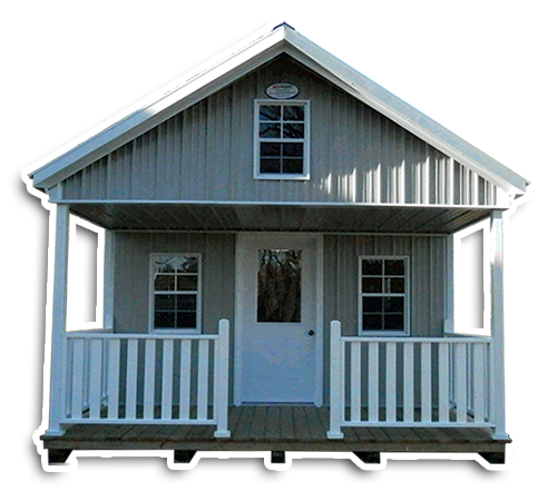 MidWest Storage Deluxe Cabin With White Vinyl Railing