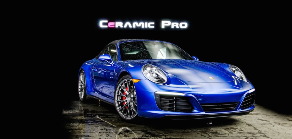 ceramic pro manitoba services on blue porsche