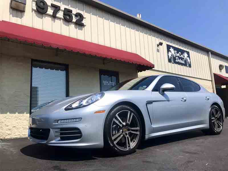 silver porsche after car wash from SoCal detail