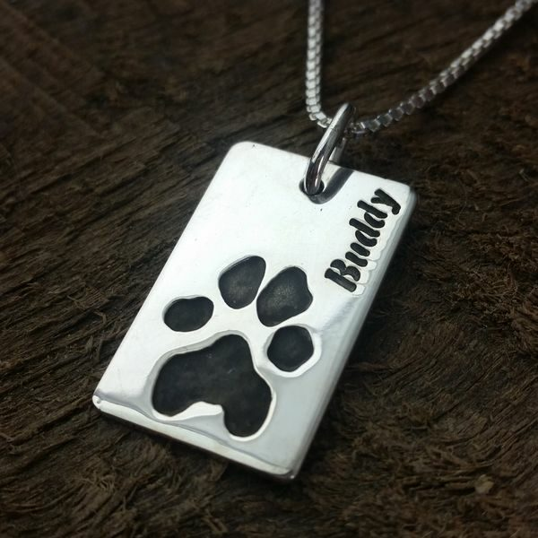 Paw print Necklace Dog Tag