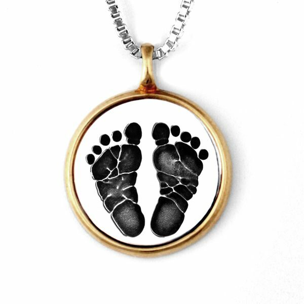 Silver Footprint Necklace with Gold Frame