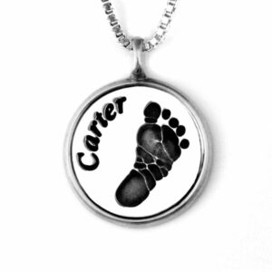 Foot print Necklace with Silver Frame