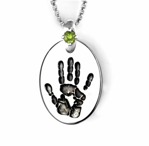 Silver Hand Print Necklace Oval with Gemstone Accent