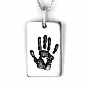 Hand print Necklace Dog Tag