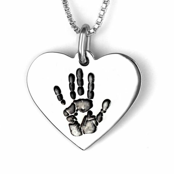 Silver Handprint Heart Necklace